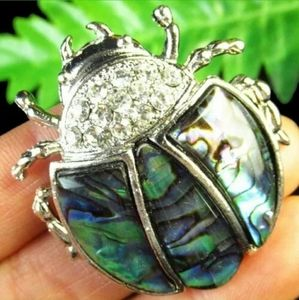 New Wrapped Abalone Lady Bug Silver Pendant.